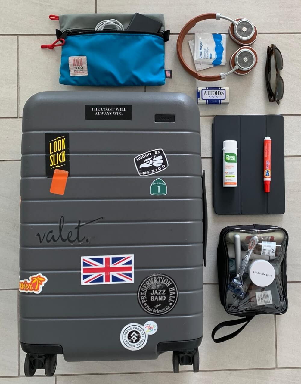 Cory Ohlendorf, Valet.'s editor, travel kit