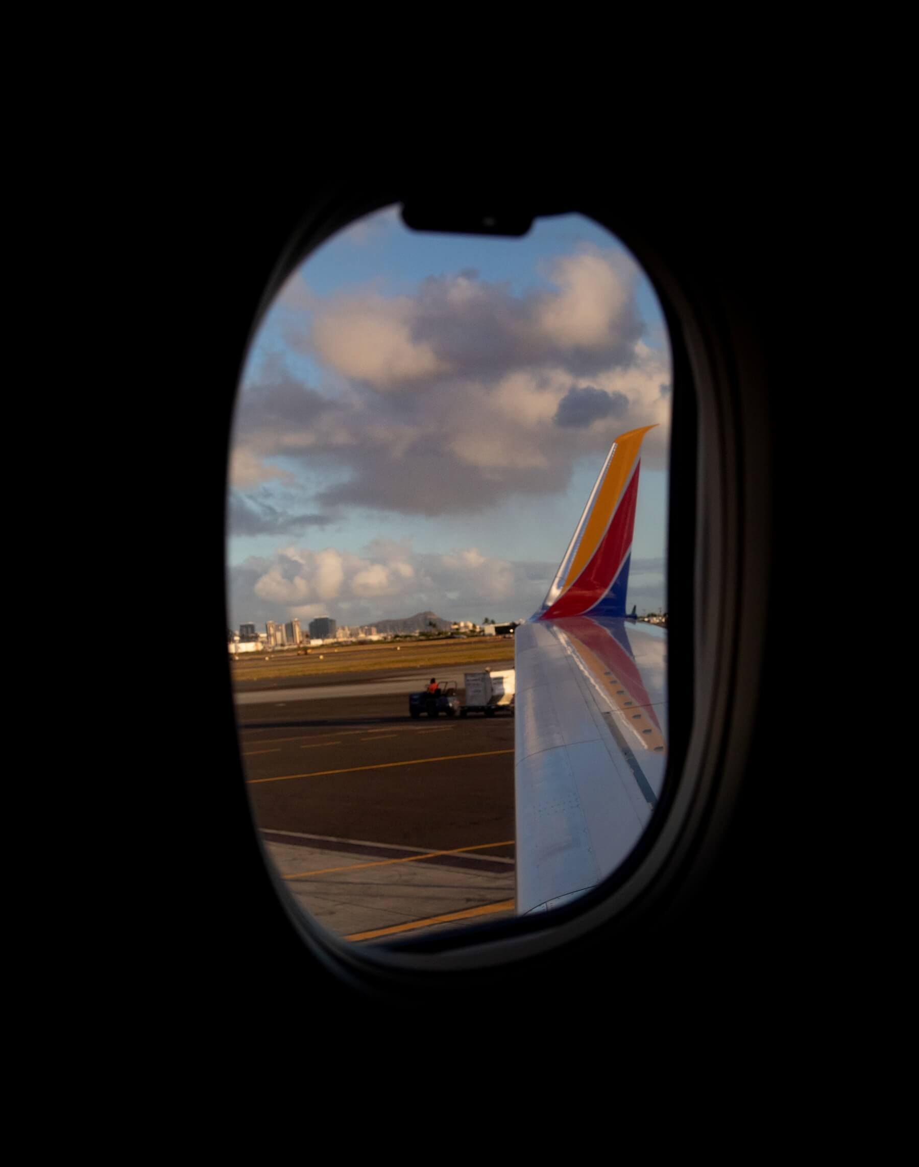 The view from a Southwest airlines plane window