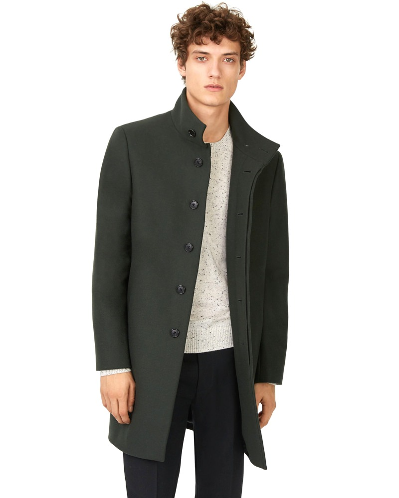 Club Monaco Wool Funnel-Neck Topcoat