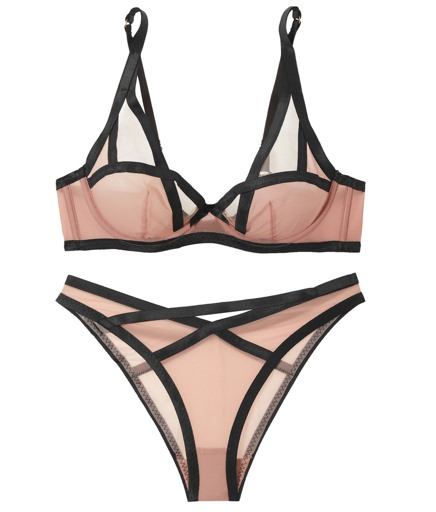 Agent Provocateur Satin-Trimmed Balconette Bra and Briefs