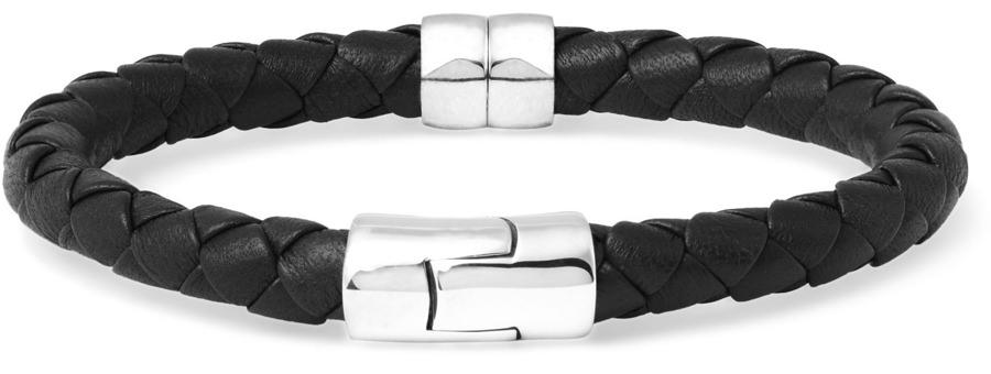 Bottega Veneta Leather and Silver Bracelet