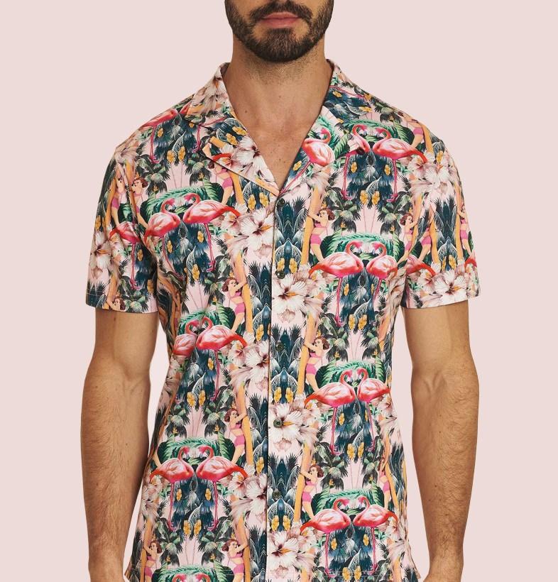 Robert Graham Flamingo Print Camp Collar Shirt