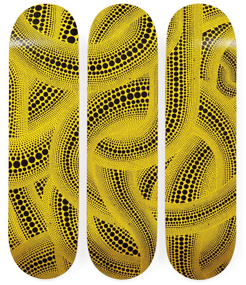 Yayoi Kusama Yellow Trees Skateboard Triptych