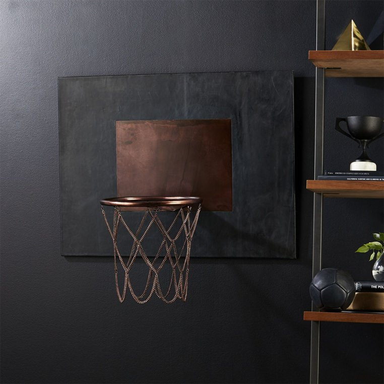 CB2 Leather and Copper Basketball Hoop