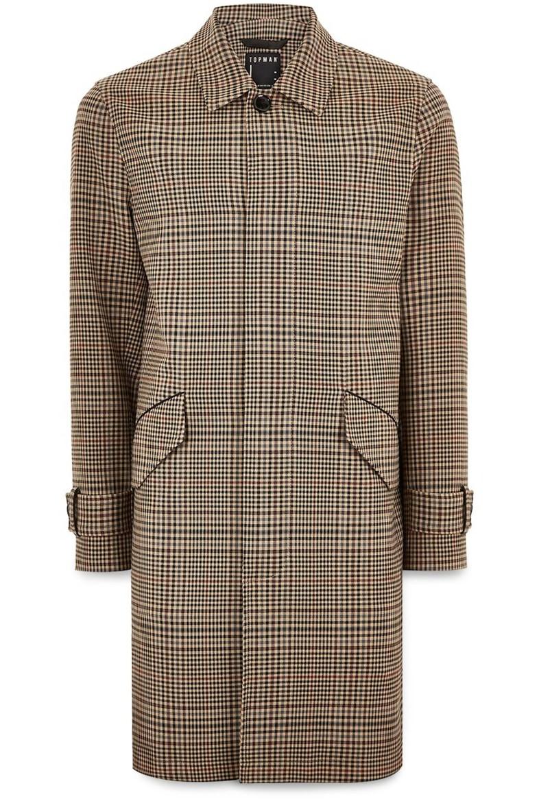 Topman Check Mac Overcoat