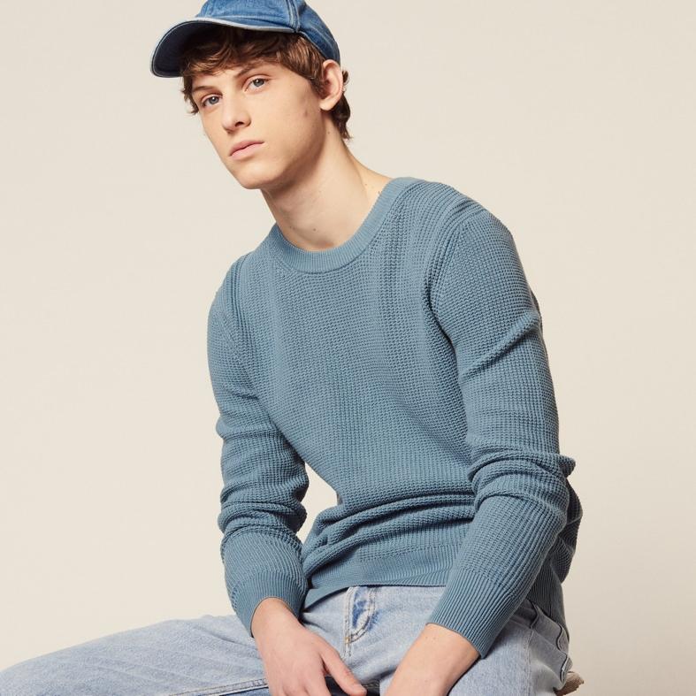 Sandro Textured Cotton Sweater