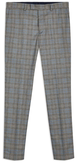 Topman Grey Checked Trousers