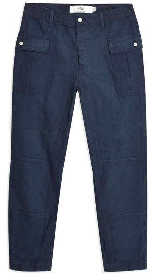 Topman Herringbone Cotton Cargo Pants