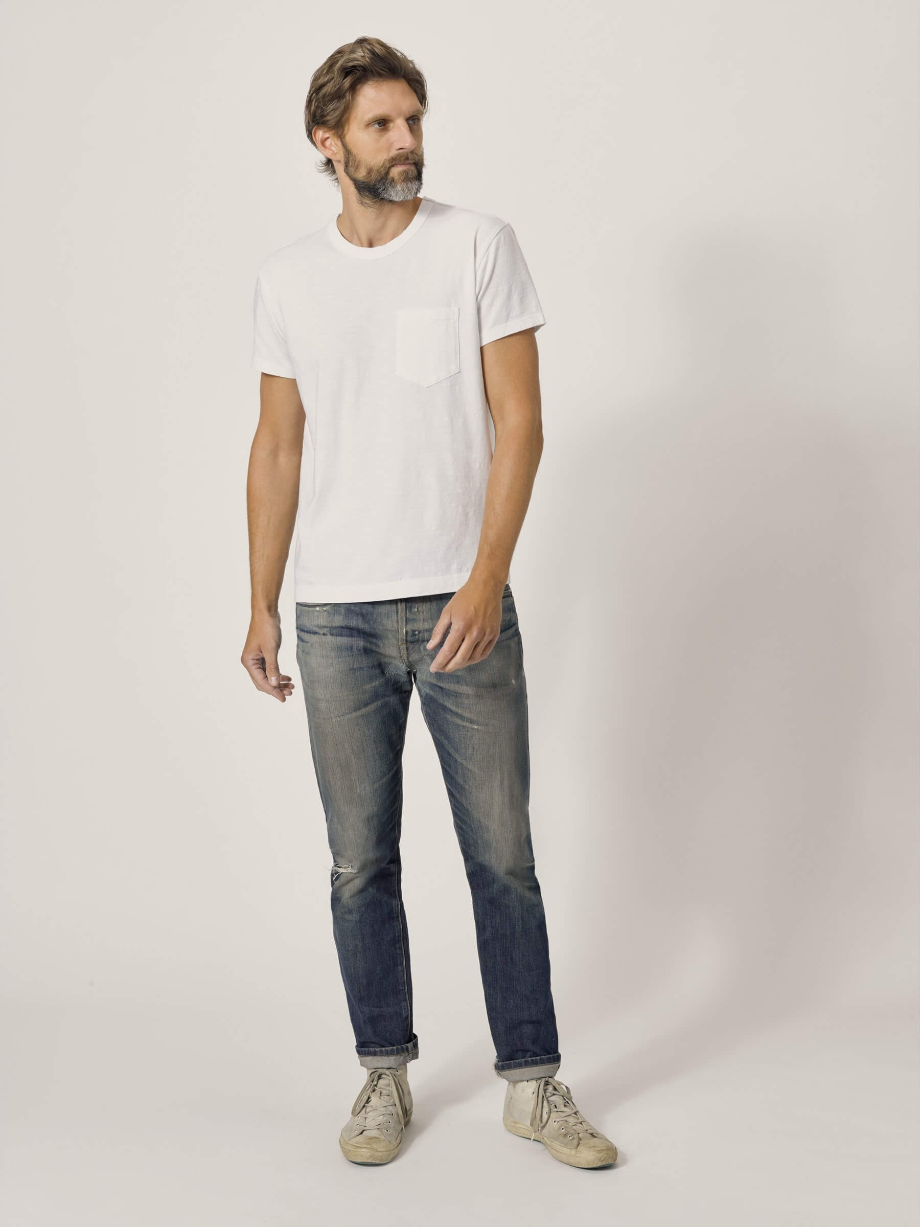 Men's classic jeans and white T-shirt