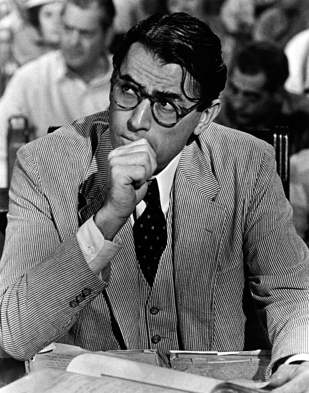 Gregory Peck as Atticus Finch in a seersucker suit