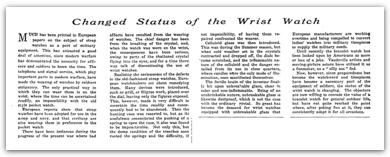 The New York Times - Introduction of the Wrist Watch in 1916