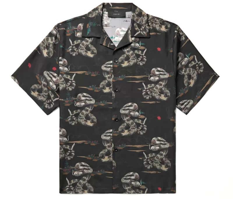 AMIRI Rattlesnake Printed Camp-Collar Shirt