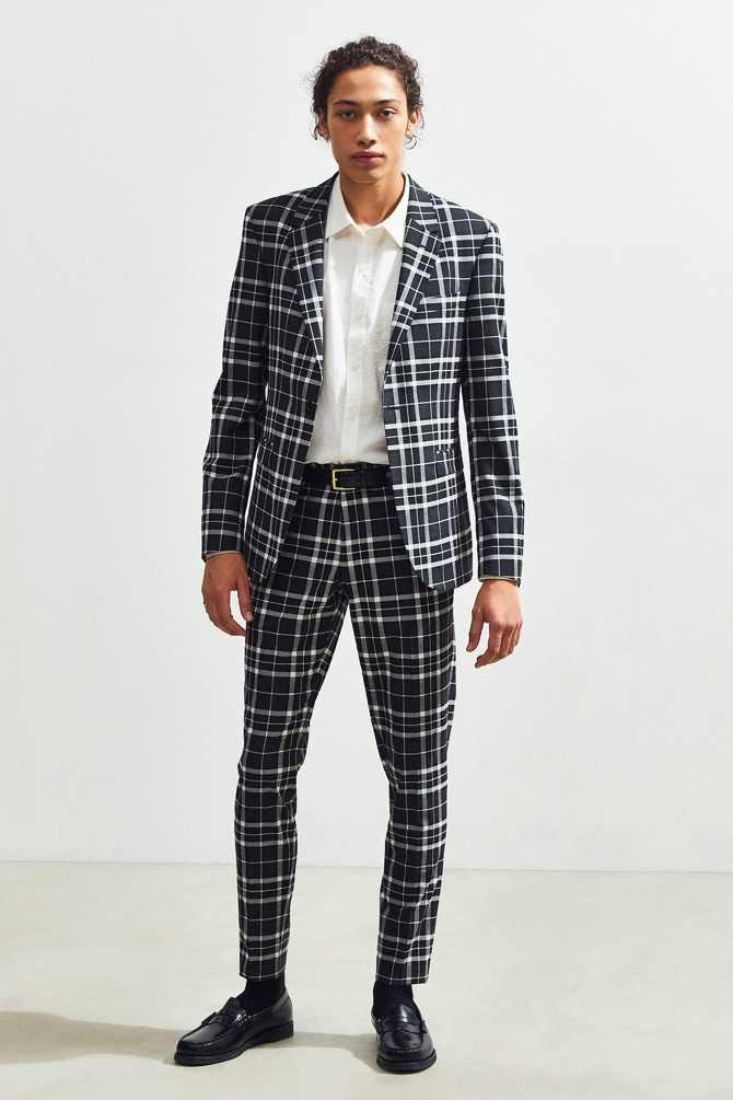 Urban Outfitters Plaid Skinny Fit Blazer