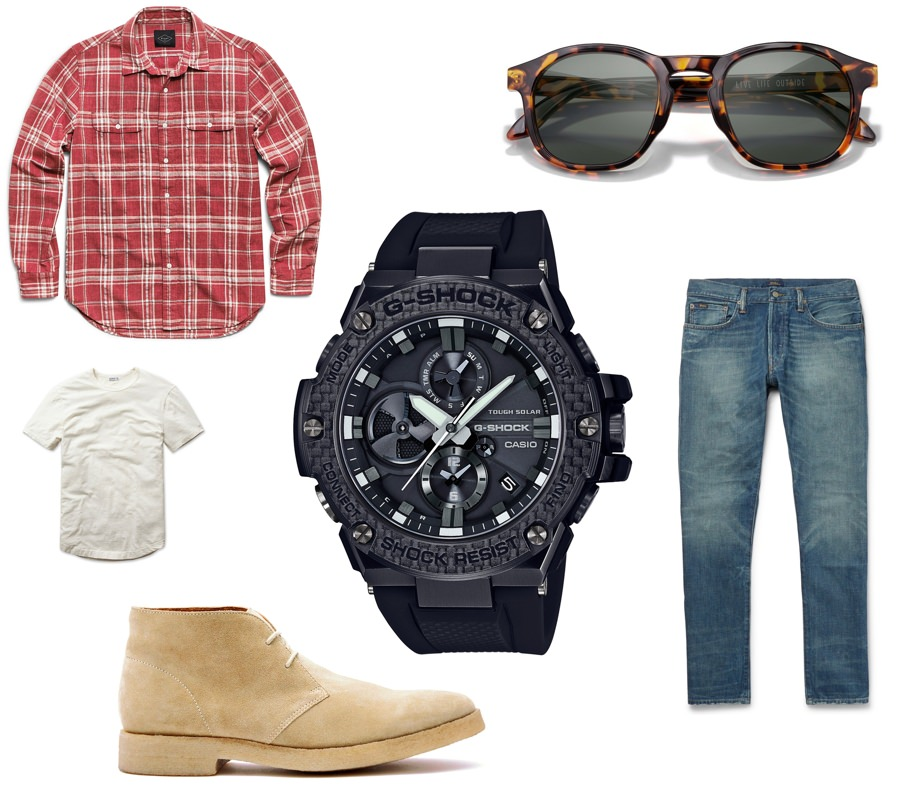 What to wear with the G-SHOCK G-STEEL GSTB100X-1A timepiece on a weekend adventure