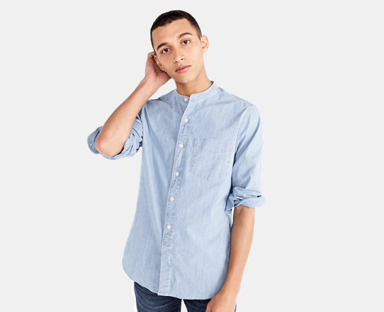 J.Crew Band Collar Stretch Denim Shirt
