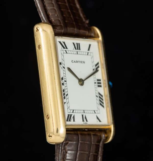 Cartier Tank watch detail