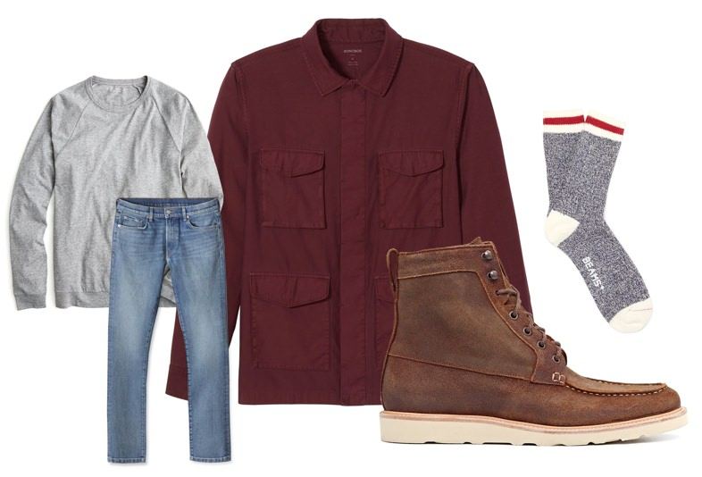 Men's t-shirt and jeans fall outfit