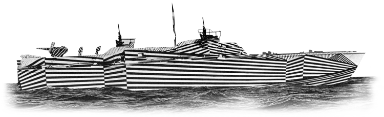 War ships painted in dazzle camouflage during World War I and II
