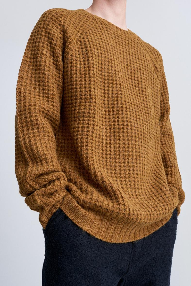 Saturdays NYC Caramel Waffle Knit Sweater