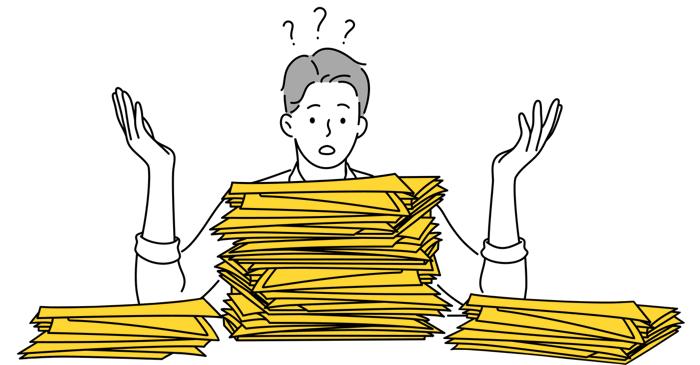 Cleaning your desk illustration